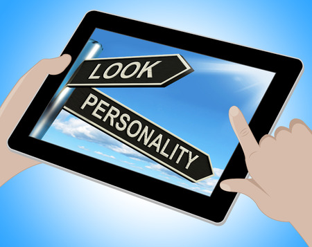 inner beauty: Look Personality Tablet Showing Appearance And Character Stock Photo