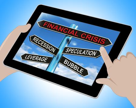 leverage: Financial Crisis Tablet Mostrando Apalancamiento especulaci�n recesi�n y burbujas Foto de archivo