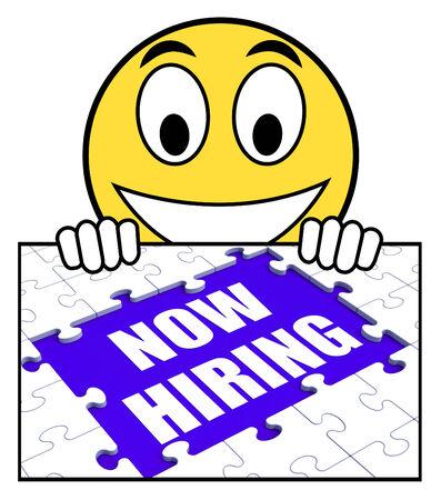 job opening: Muestra ahora de alquiler Mostrando Apertura de empleo y empleados Reclutamiento Foto de archivo