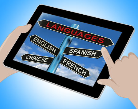 Languages Tablet Meaning English Chinese Spanish And French photo