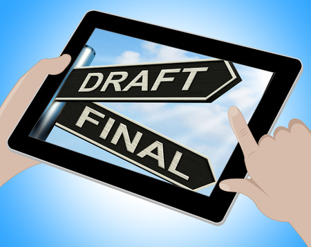 rewriting: Draft Final Tablet Meaning Writing Rewriting And Editing Stock Photo