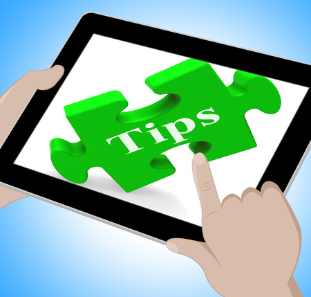 suggestions: Tips Tablet Showing Online Suggestions And Pointers Stock Photo