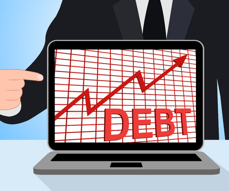 indebted: Debt Graph Chart Displaying Increasing Financial Indebted