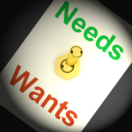 wants: Needs Wants Switch Showing Requirements And Luxuries