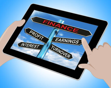 turnover: Finance Tablet Showing Profit Earnings Interest And Turnover