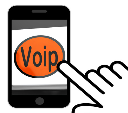 telephony: Voip Button Displaying Voice Over Internet Protocol Or Broadband Telephony