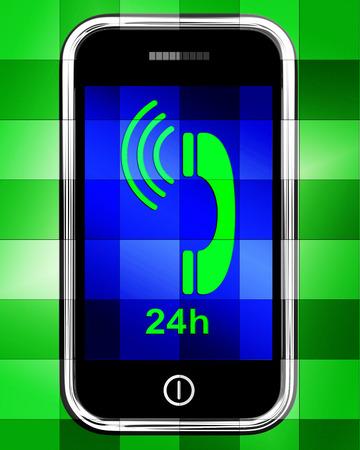 24x7: Twenty Four Hour On Phone Displaying Open 24h