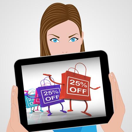 per cent: Twenty-five Percent Off Bags Displaying 25 Sales Stock Photo