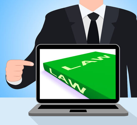 lawfulness: Law Book Laptop Showing Books About Legal Justice