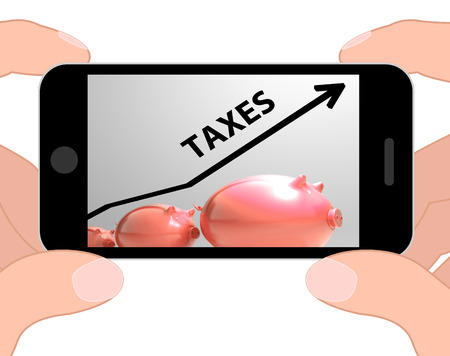 levy: Taxes Arrow Displaying Higher Taxation And Levies Stock Photo