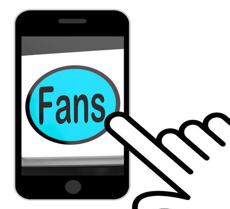 follower: Fans Button Displaying Follower Or Internet Fan Stock Photo