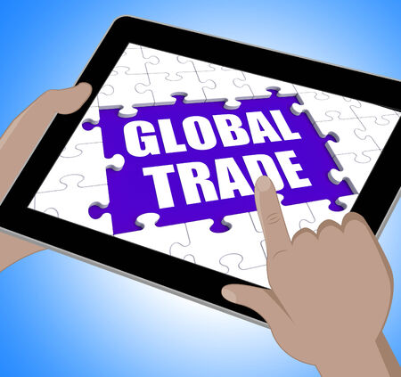 global trade: Global Trade Tablet Showing Web International Business Stock Photo