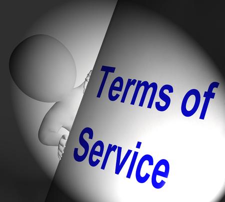서비스 약관은 사용자와 공급자 계약을 표시 표지판 스톡 콘텐츠