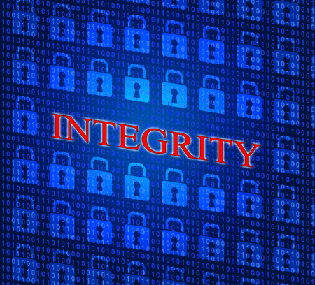 uprightness: Data Integrity Indicating Ethical Reliable And Uprightness Stock Photo