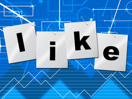 liking: Like Fans Showing Social Media And Liking Stock Photo