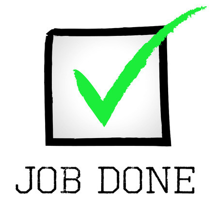 Job Done Indicating Tick Symbol And Confirm Stock Photo Picture And