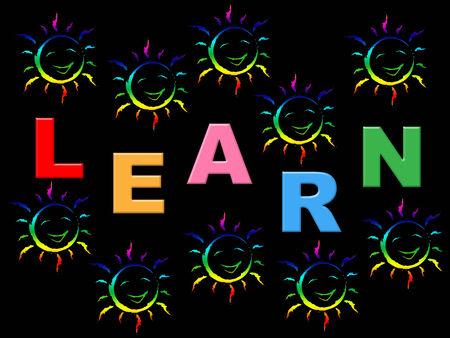niños estudiando: Aprenda niños que indican la formación universitaria y de tren