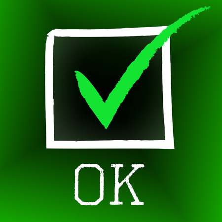 affirm: Ok Tick Representing All Right And Pass Stock Photo