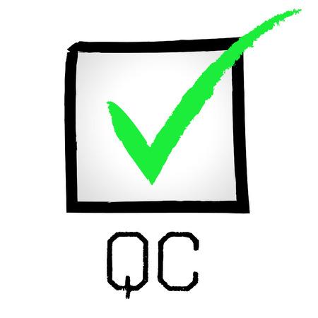 qc: Tick Qc Indicating Quality Assurance And Guarantee