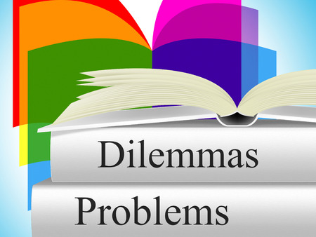Problems Dilemmas Showing Difficult Choice And Setback Archivio Fotografico