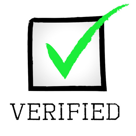 authenticity: Tick Verified Representing Authenticity Guaranteed And Confirmed Stock Photo