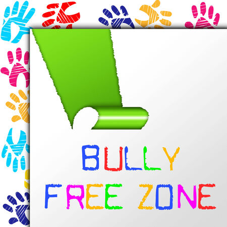 bulling: Bully Zona Libre Mostrando No Bullying y Cyberbullying Foto de archivo