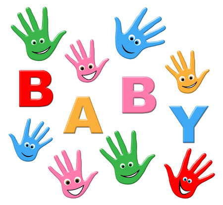 mani unite: Bambino appena nato Mostrando mani e Palm
