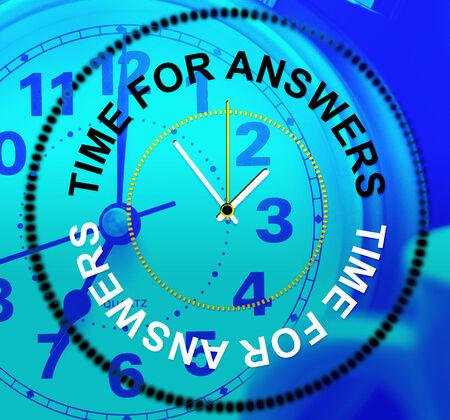 knowhow: Time For Answers Representing Knowhow Help And Info Stock Photo