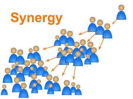 work together: Synergy Team Vertegenwoordigen samenwerken en partnerschap