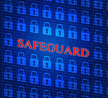 safeguard: Locked Safeguard Showing Forbidden Encryption And Sign Stock Photo
