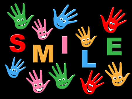 handprints: Smile Handprints Showing Happiness Colorful And Drawing Stock Photo