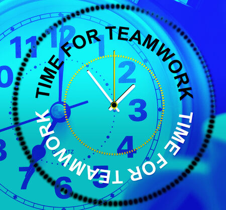 Time For Teamwork Indicating Organization Cooperation And Networking Stock Photo