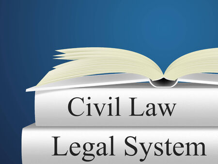 statute: Civil Law Showing Judiciary Judicial And Statute Stock Photo