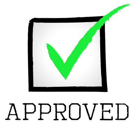 confirmed: Approved Tick Indicating Yes Assured And Confirmed Stock Photo