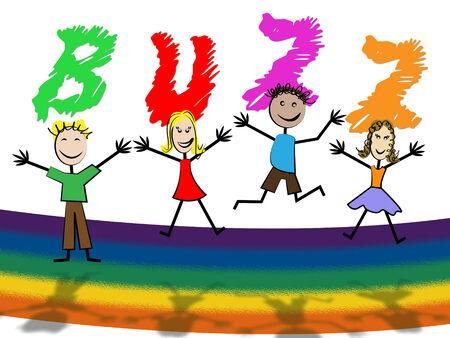 relations publiques: Buzz Enfants Afficher les relations publiques et favoris�e Banque d'images