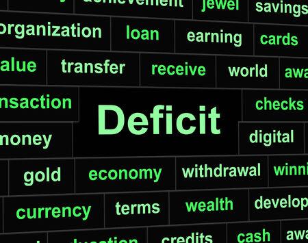 obligaciones: D�ficit Deudas Mostrando Poseer Finanzas y pasivos Foto de archivo
