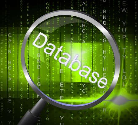 dataflow: Bases de datos Lupa En representaci�n de flujo de datos de computaci�n y de Byte Foto de archivo