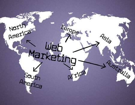 web marketing: Web Marketing Indicating Advertising Websites And Promotions