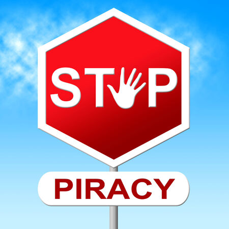 originator: Piracy Stop Showing Copy Right And Patented Stock Photo