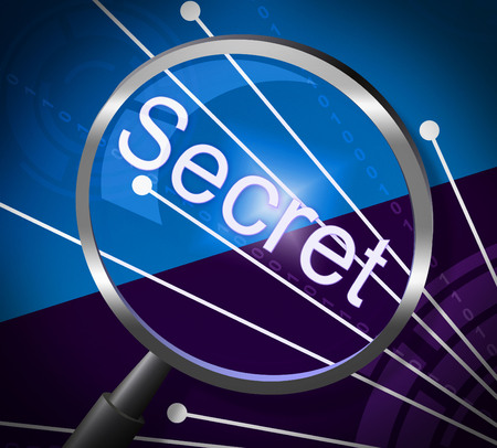 discreet: Secret Magnifier Indicating Secretive Research And Discreet Stock Photo