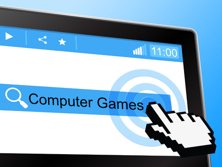 computer games: Computer Games Showing World Wide Web And Network Entertaining Stock Photo
