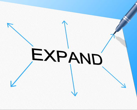 expanded: Expand Big Indicating Increase In Size And Become Larger