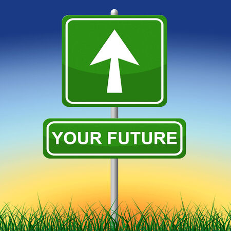 Your Future Representing Message Progress And Pointing