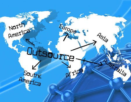 independent contractor: Worldwide Outsource Showing Independent Contractor And Earth Stock Photo