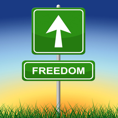 get away: Freedom Sign Showing Get Away And Placard