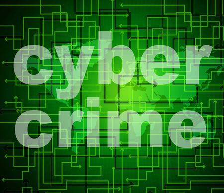 unlawful: Cyber Crime Indicating World Wide Web And Unlawful Act Stock Photo