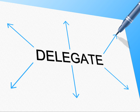 Délégation Délégué Affichage compétences en leadership et assigner Banque d'images