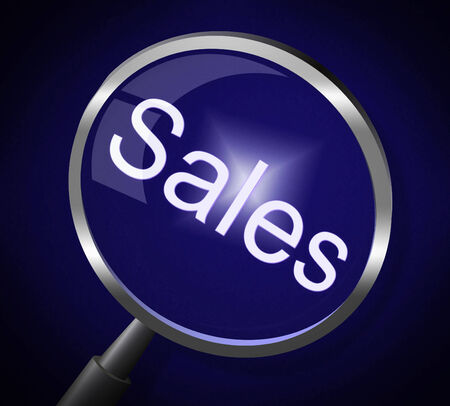consumerism: Sales Magnifier Showing Searching Consumerism And Sell Stock Photo