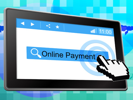 payable: Online Payment Indicating World Wide Web And Website Stock Photo