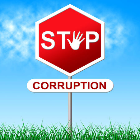 misconduct: Corruption Stop Representing Warning Sign And Dishonesty